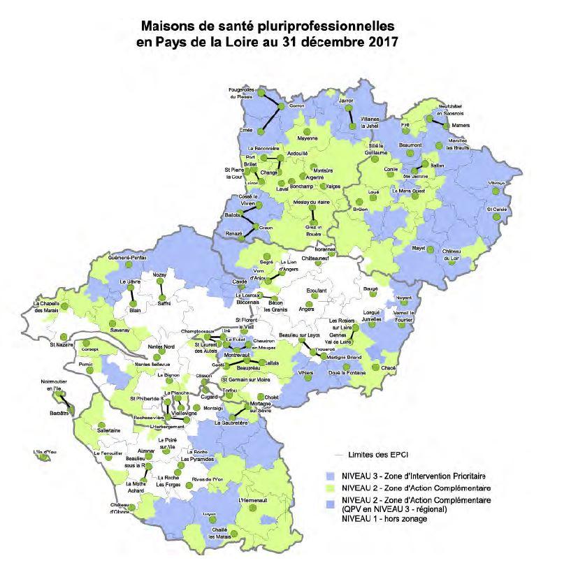 Maisons de santé pluriprofessionnelles en Pays de la Loire au 31 décembre 2017